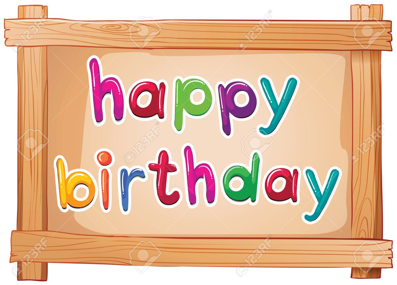 illustration of a signboard with a happy birthday template on