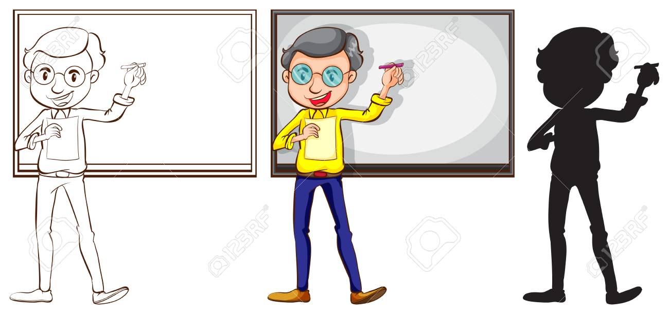 illustration of the sketch of a teacher in three different colors on a white background stock