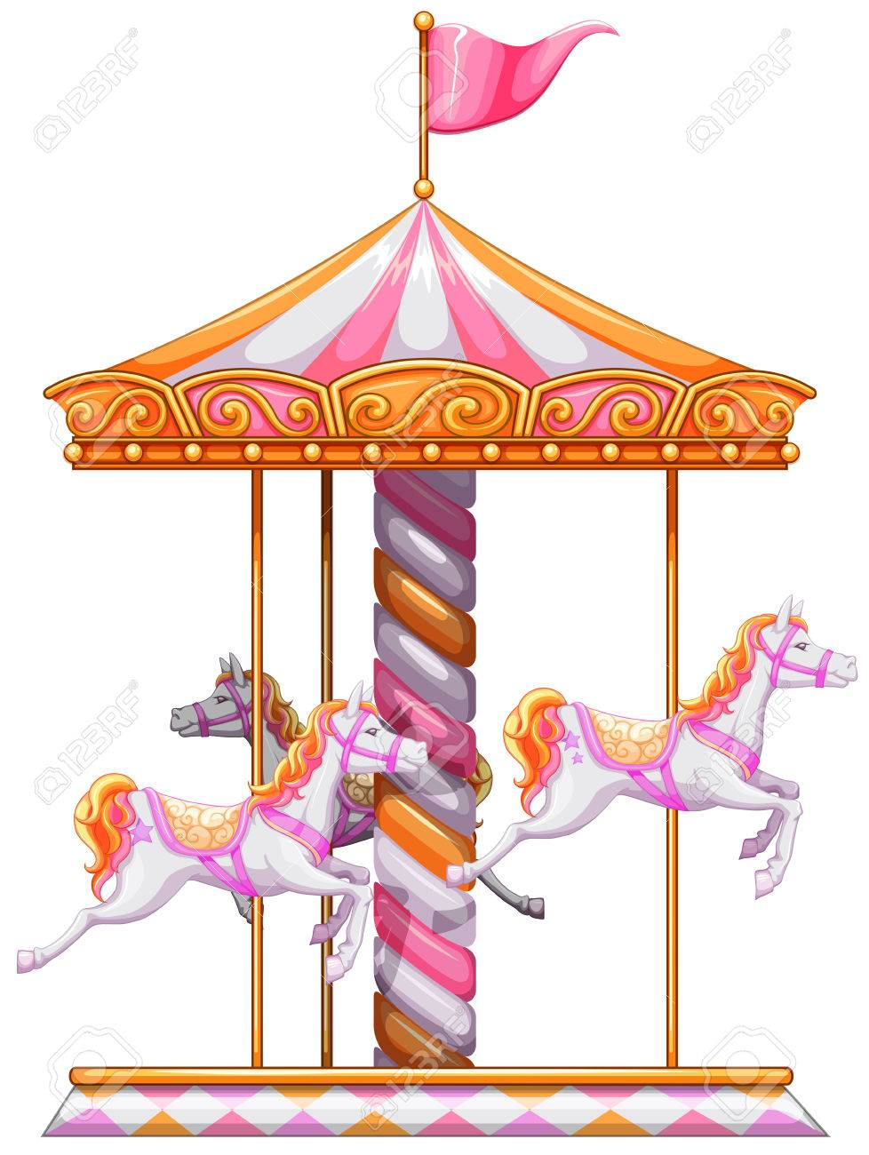 Illustration Of A Colourful Merry Go Round On White Background