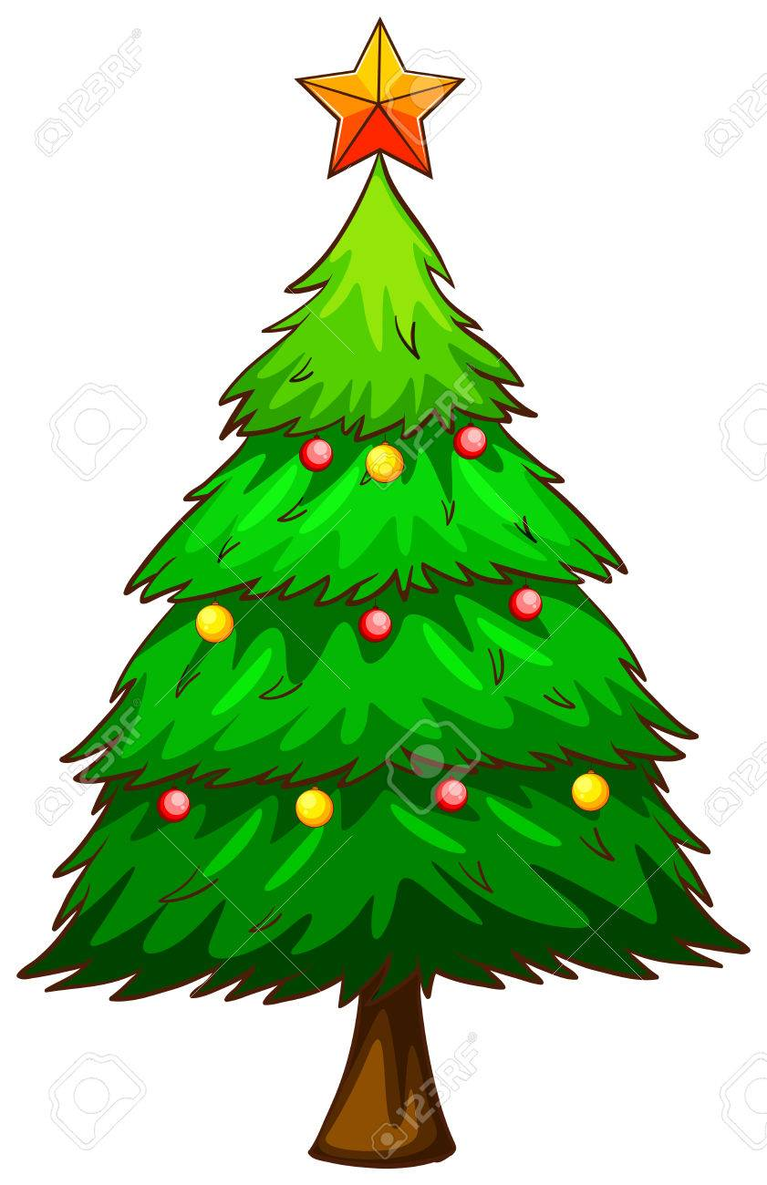 Fotos De Arboles De Navidad En Dibujos.Un Simple Dibujo De Un Arbol De Navidad En Un Fondo Blanco