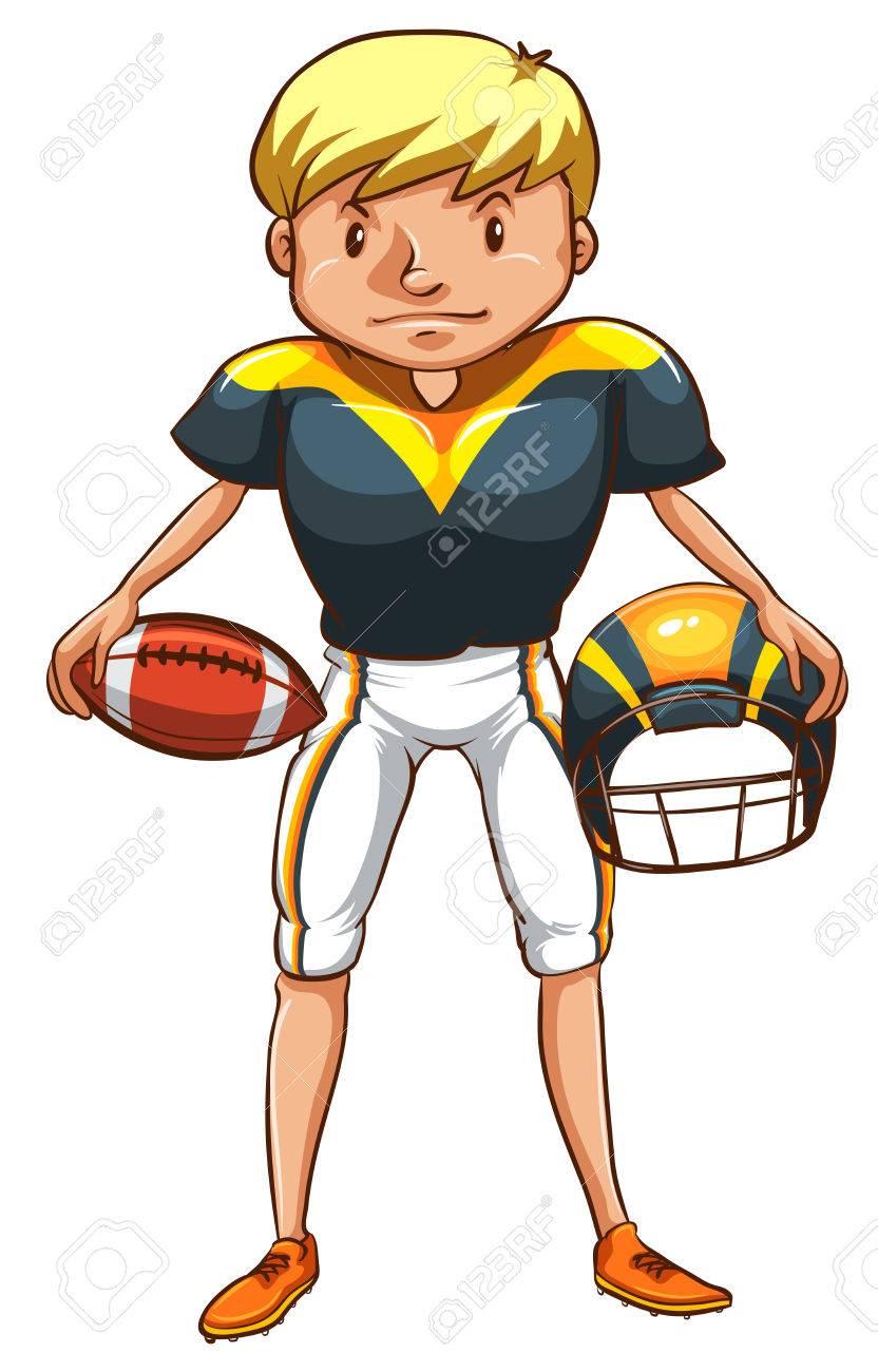 Eine einfache zeichnung eines männlichen american football spieler auf weißem hintergrund standard bild