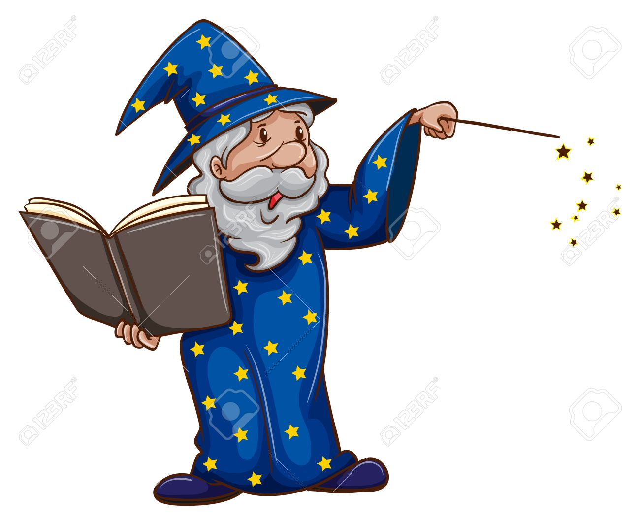 A Wizard Casting Spell On White Stock Vector