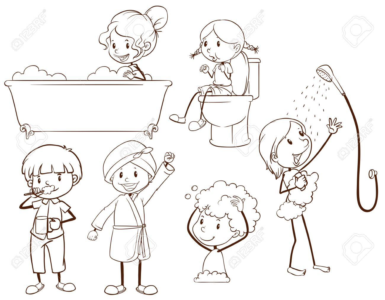 plain sketches of kids grooming on a white background stock vector 34013539