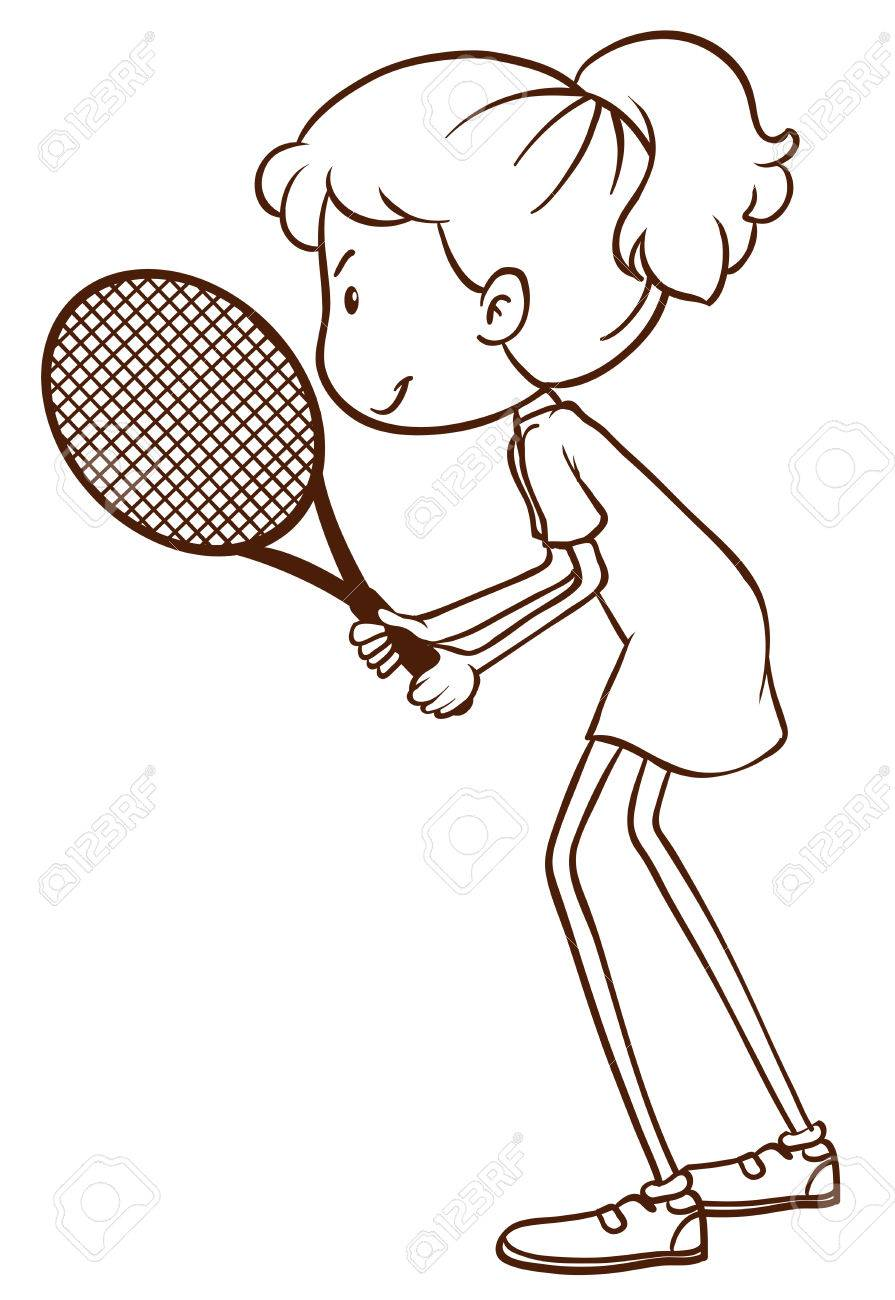 A Plain Drawing Of A Tennis Player On A White Background Royalty Free Cliparts Vectors And Stock Illustration Image 34042358