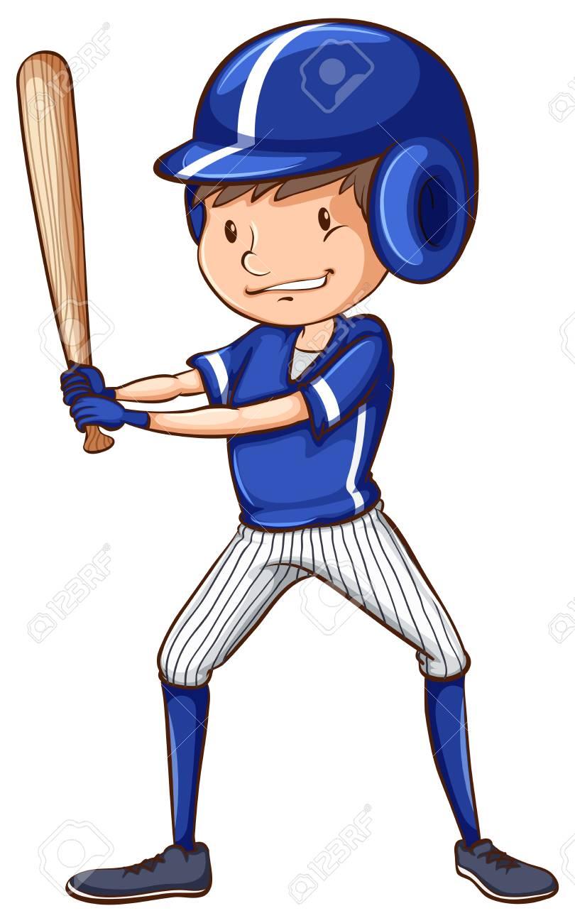 Un Dibujo Coloreado De Un Jugador De Béisbol Con Un Uniforme Azul ...