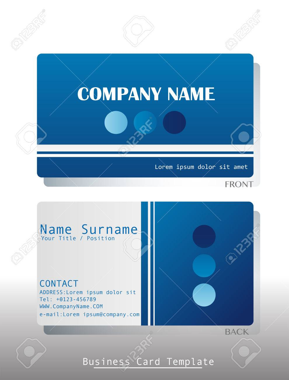 A blue business card template on a white background royalty free a blue business card template on a white background stock vector 34201901 colourmoves
