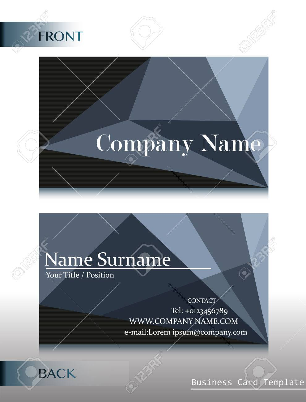 A Front And Back Design Of A Calling Card On A White Background ...