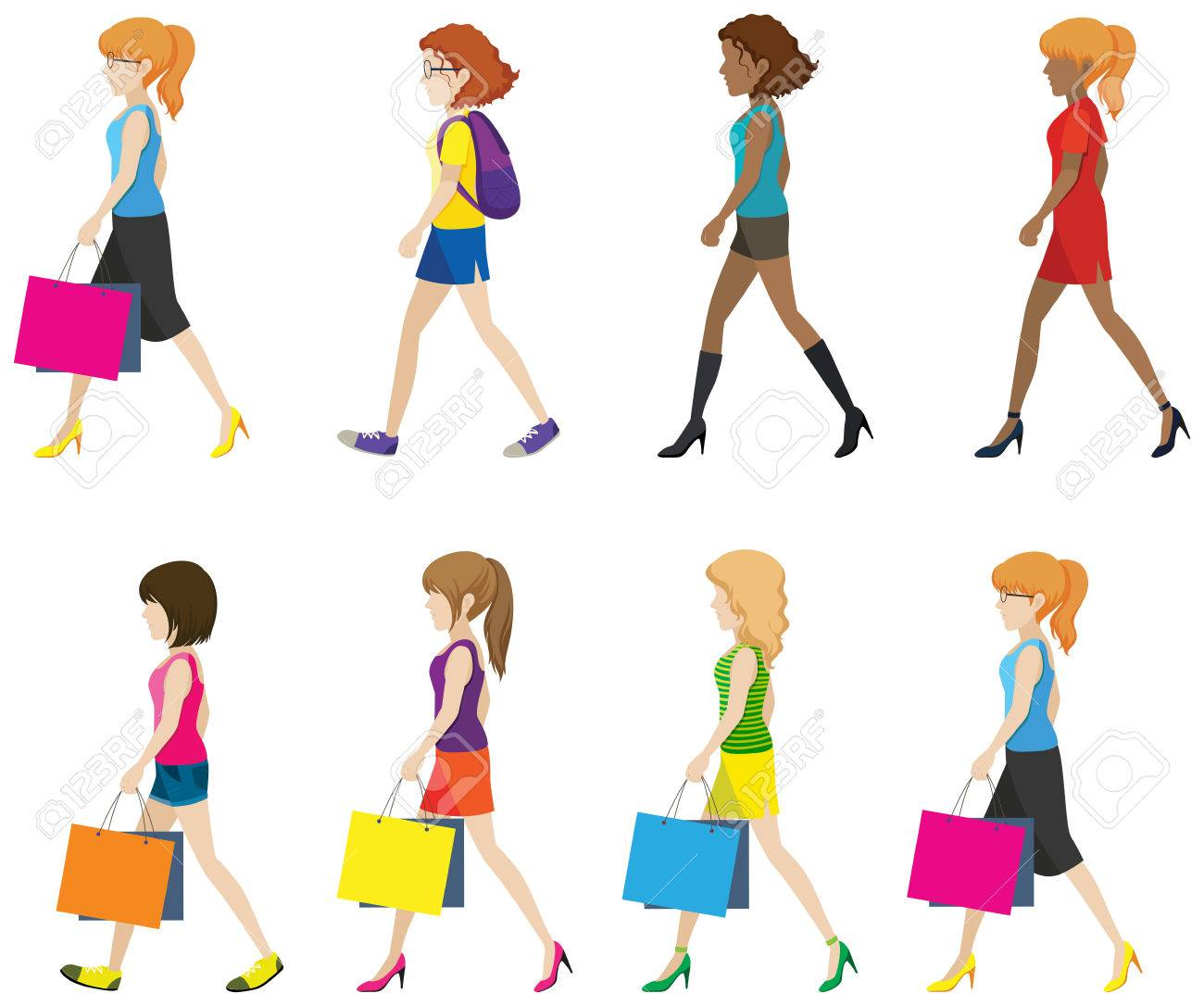 Faceless ladies walking in one direction on a white background faceless ladies walking in one direction on a white background stock vector 34258030 voltagebd Choice Image
