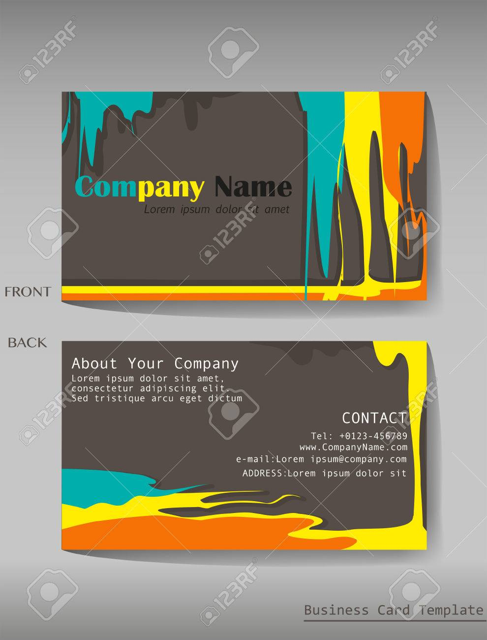 a colourful calling card on a gray background royalty free cliparts