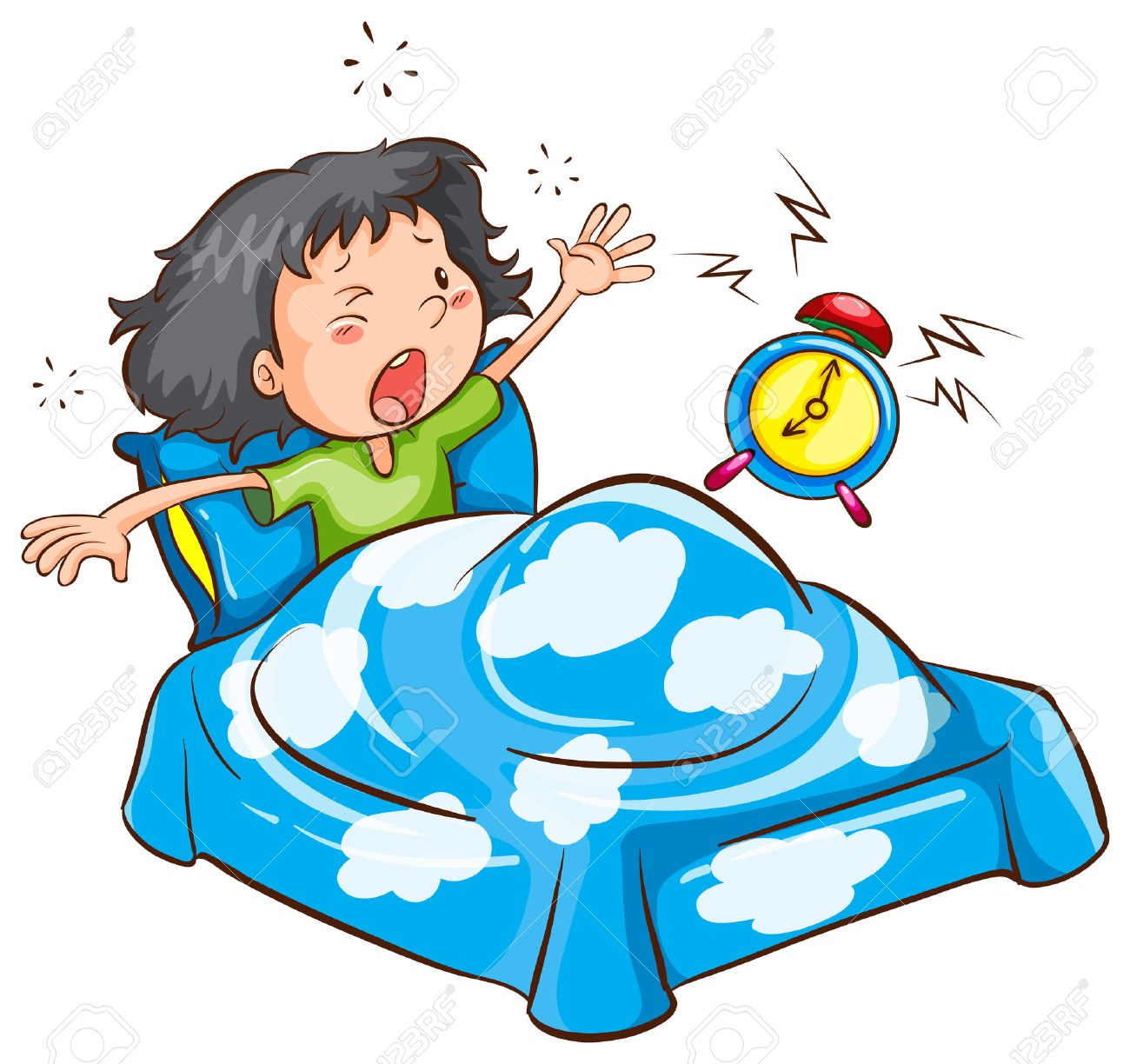 Image result for cartoon images of small girl sleeping with alarm clock
