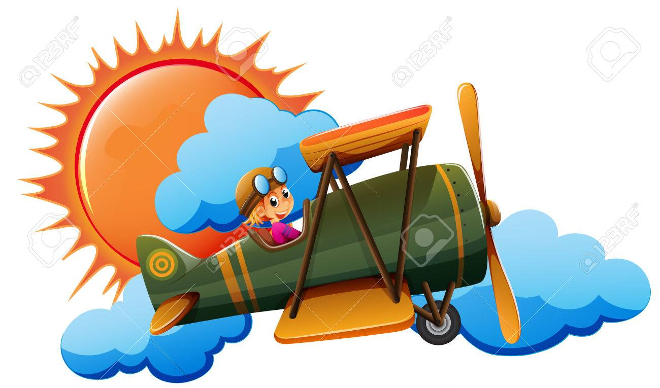 Illustration of a person flying an airplane - 35370246