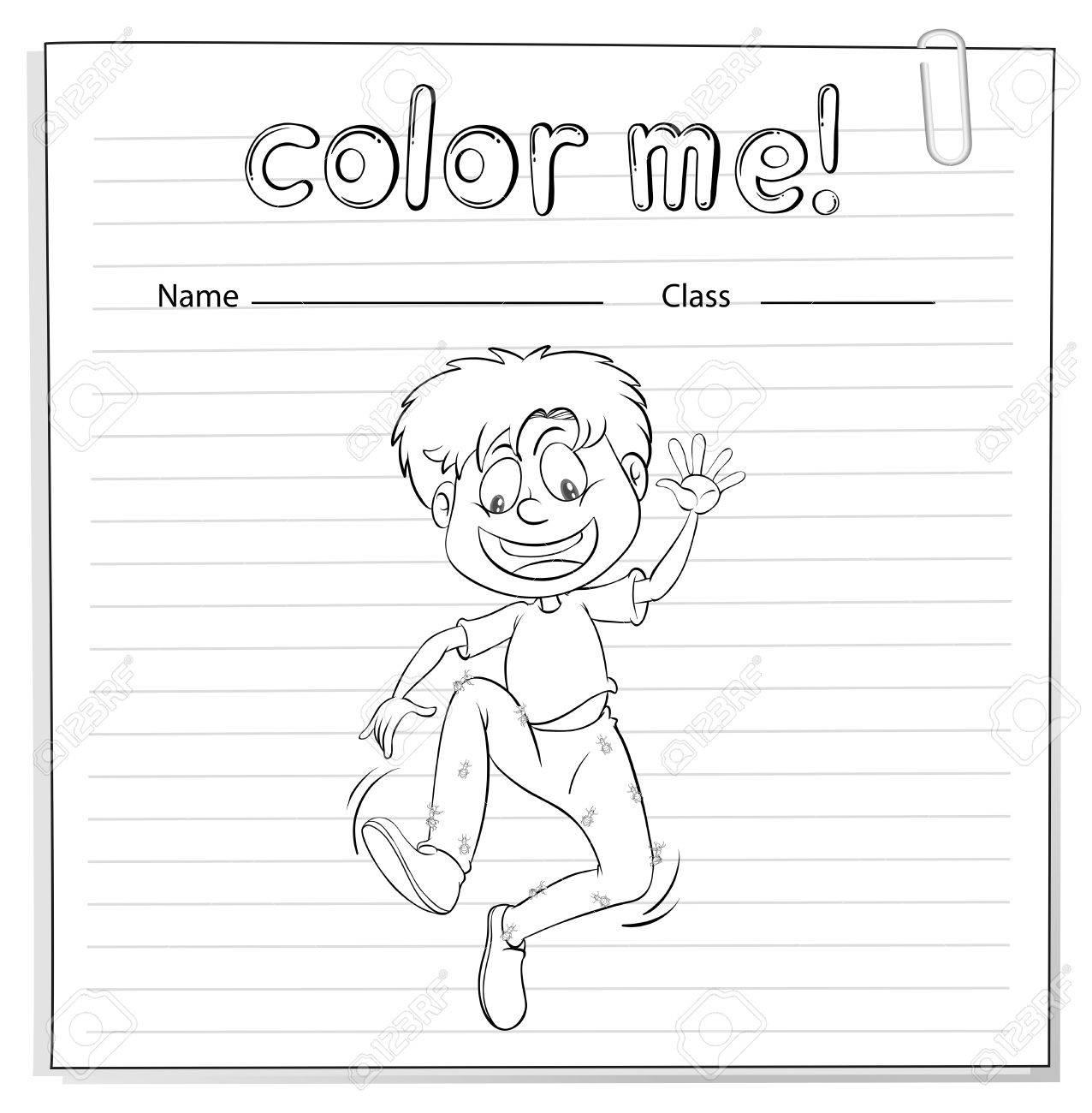 Ein Arbeitsblatt, Das Ein Junge Tanzt Auf Einem Weißen Hintergrund ...