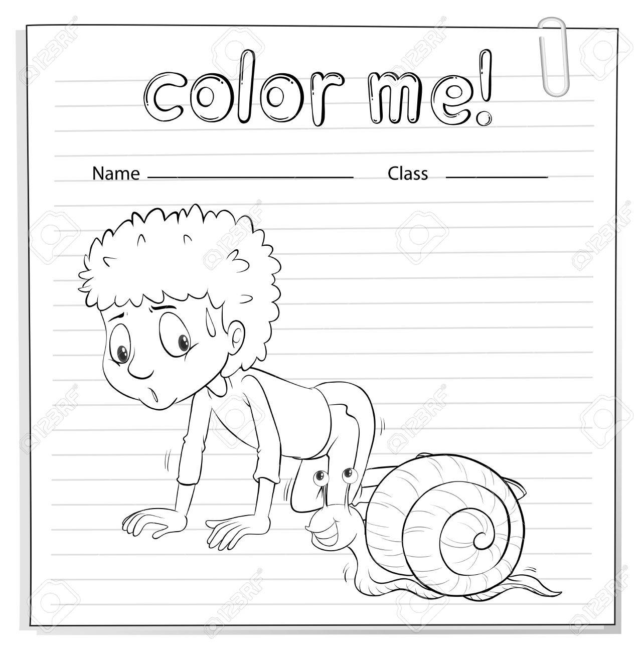 Worksheets Vectors Worksheet a color me worksheet with kid and snail crawling on white background stock