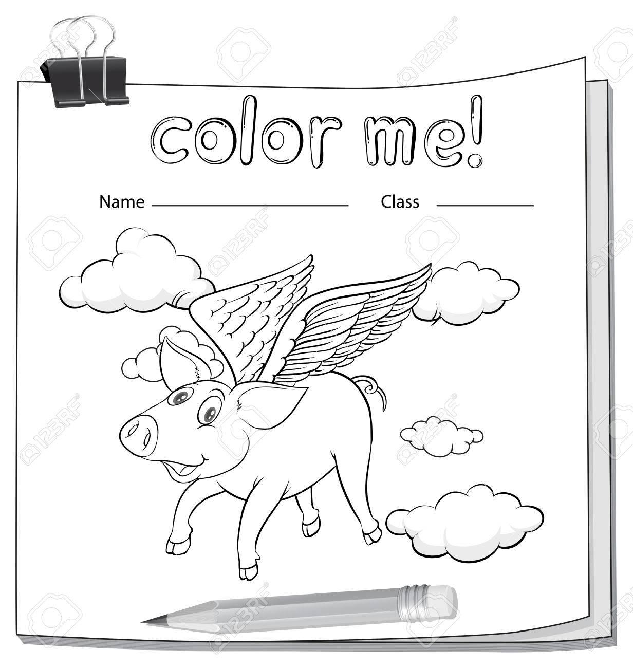 Ein Arbeitsblatt Mit Einem Fliegenden Schwein Auf Weißem Hintergrund ...