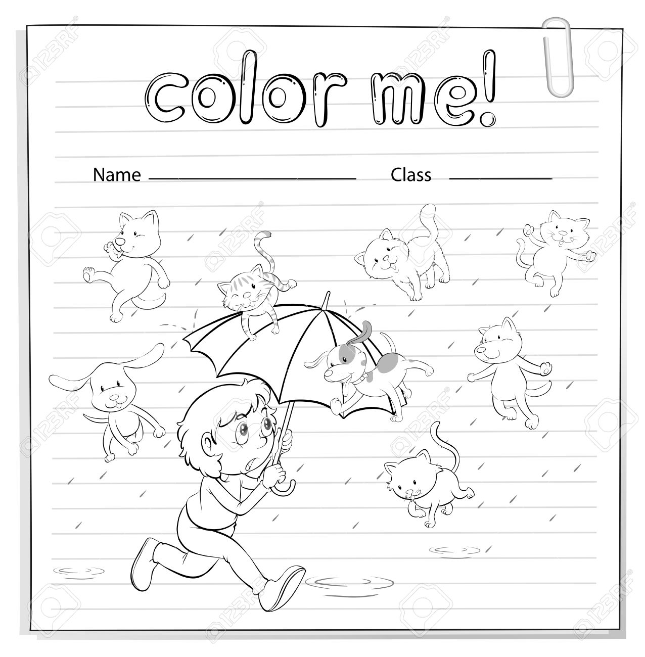 A Worksheet Showing A Rain With Cats And Dogs On A White ...