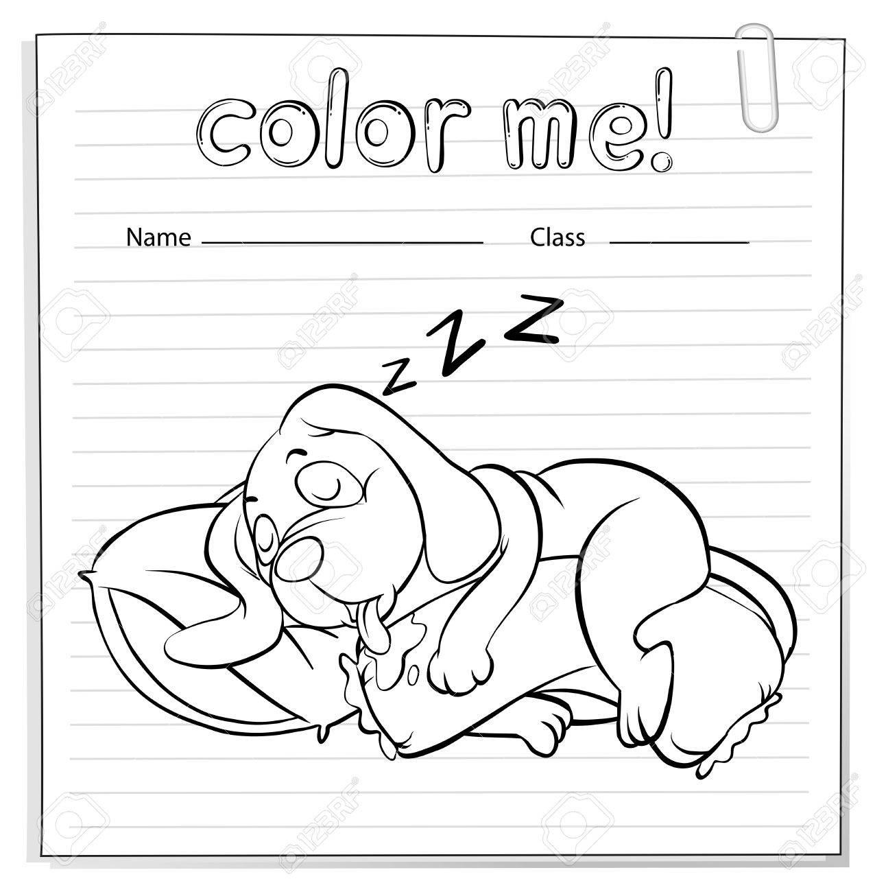 Ein Arbeitsblatt Mit Ein Hund Schlafen Auf Einem Weißen Hintergrund ...