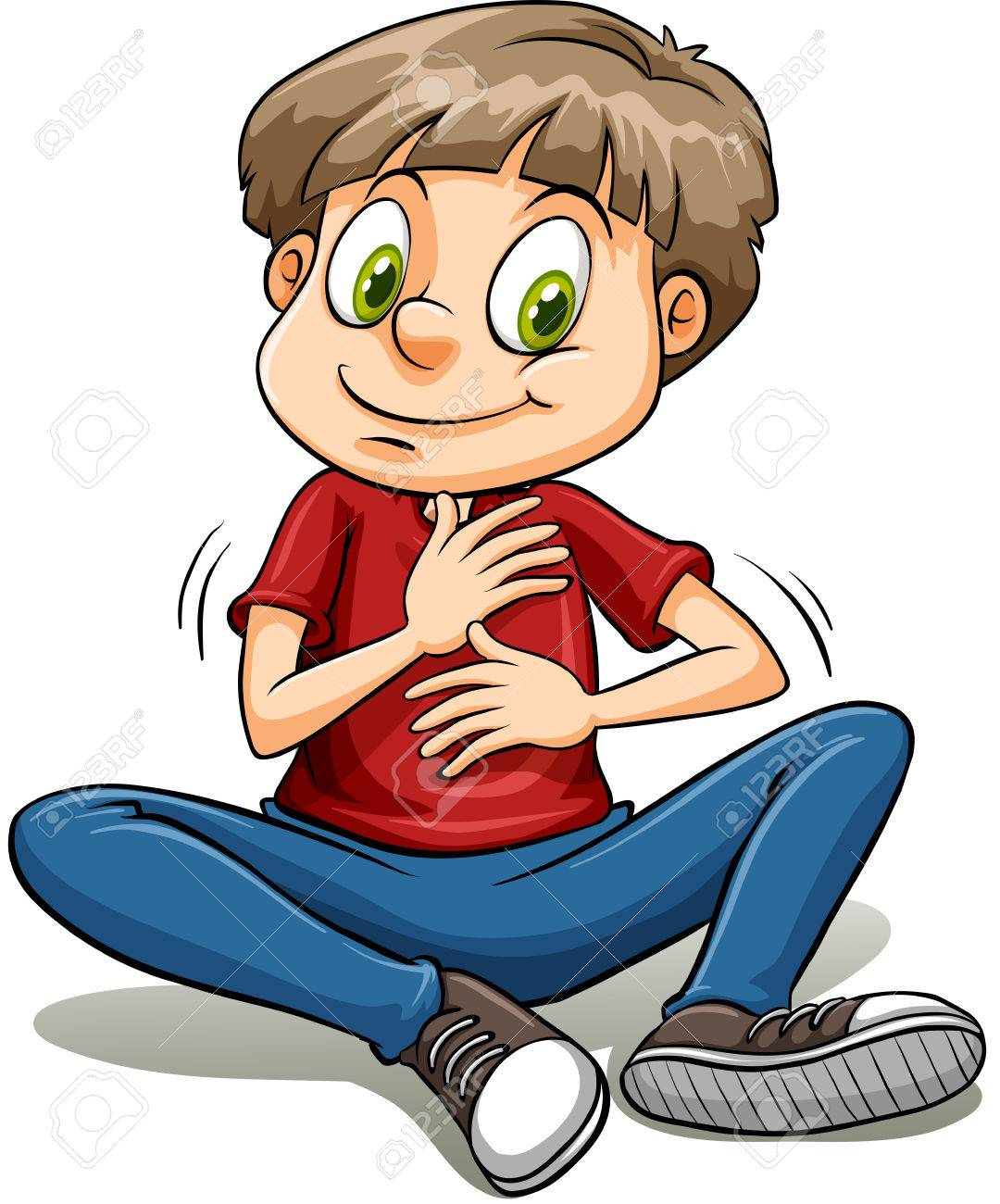 A boy with a golden heart idiom on a white background - 36780089