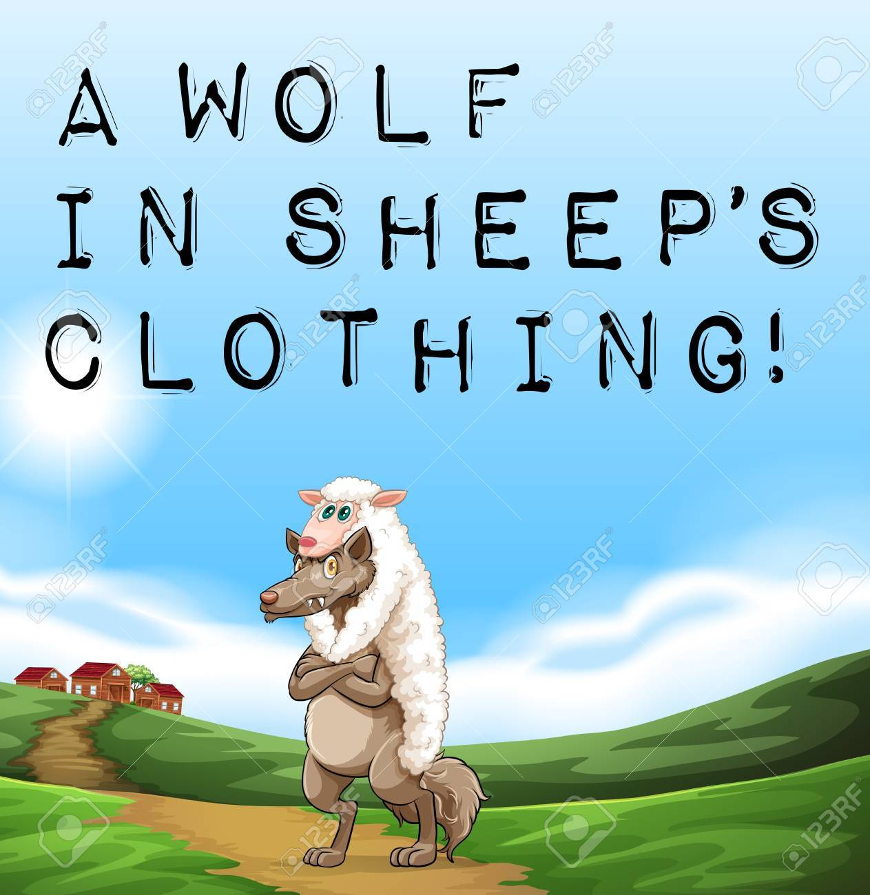 Wolf in sheep's clothing stock illustration. Illustration of sheep.