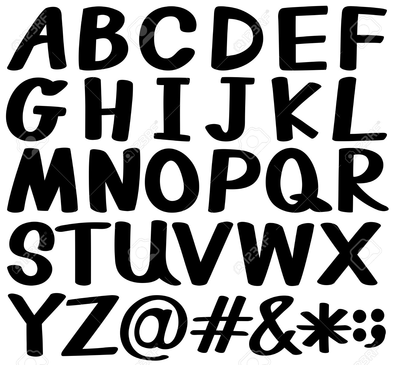 Alphabet Pictures For Each Letter Black And White.Big Letters Of The Alphabet In Black Color On A White Background