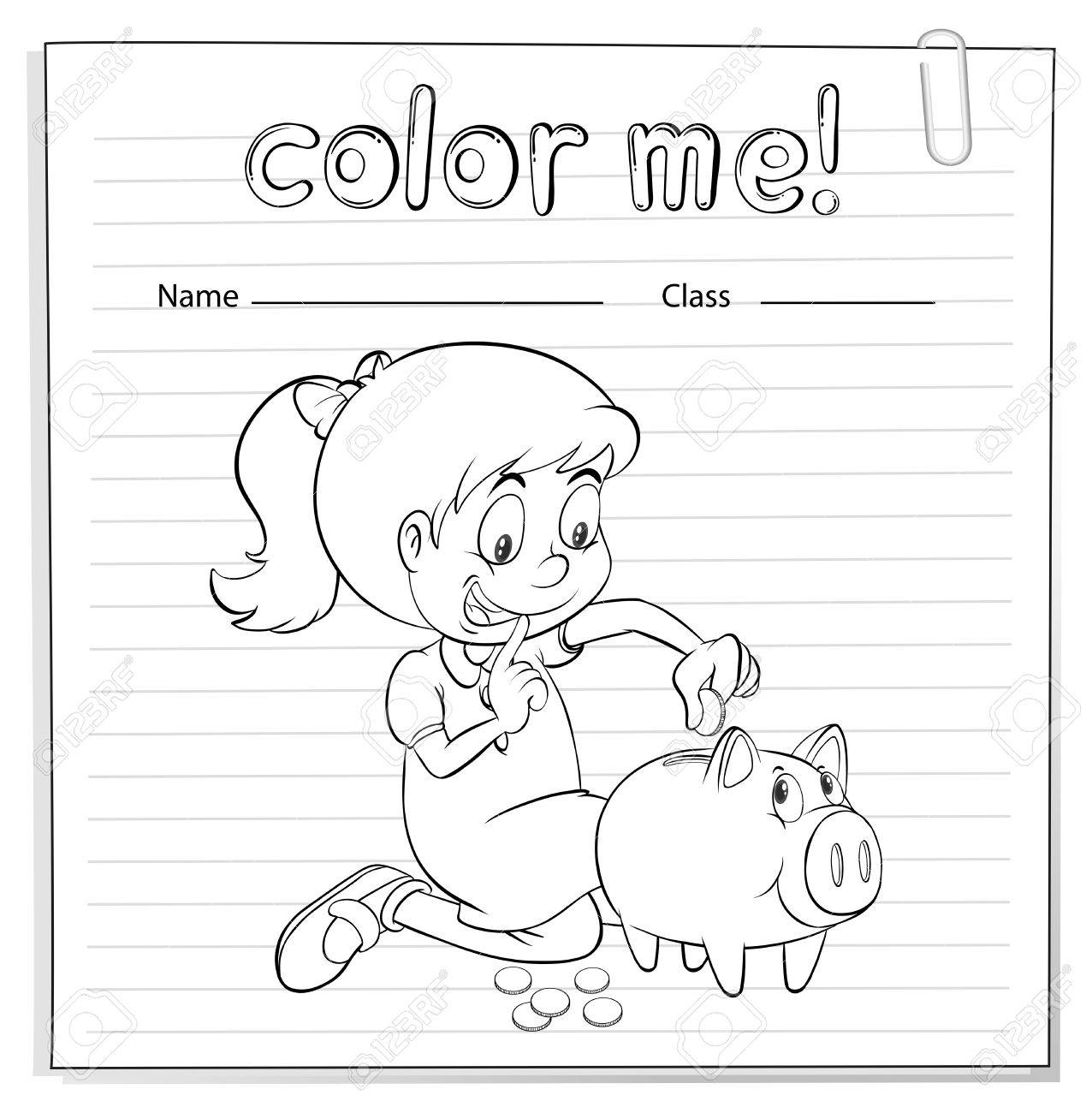 Worksheet Showing A Thrifty Little Girl On A White Background – Vector Worksheet