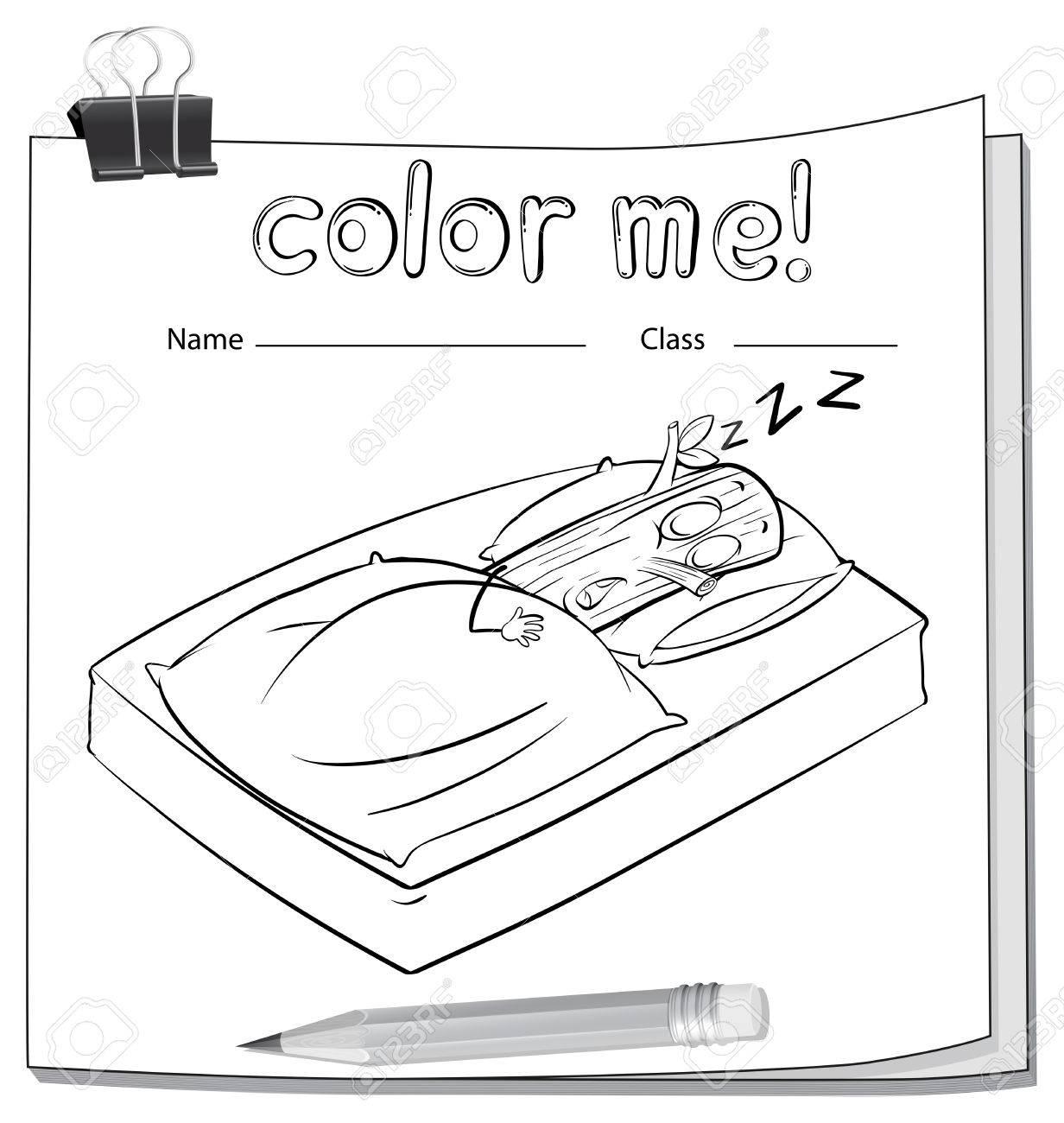 Ein Arbeitsblatt Mit Einer Log Schlafen Gut Auf Weißem Hintergrund ...
