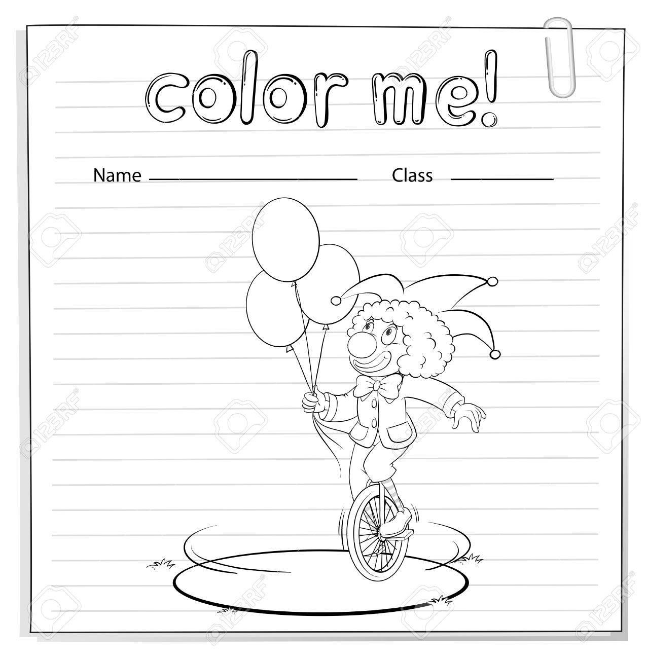 Coloring Arbeitsblatt Mit Ein Clown Mit Luftballons Auf Weißem ...