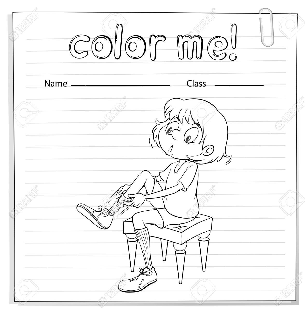 Coloring Worksheet With A Girl Pulling Her Sock On A White – Vectors Worksheet
