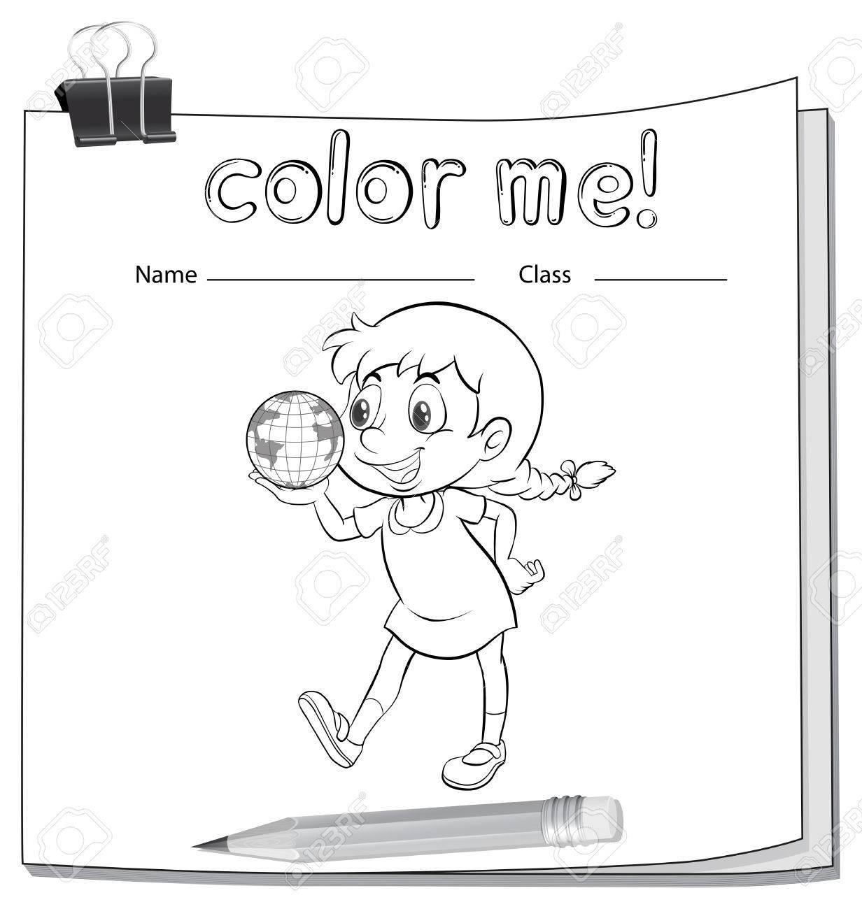 Färbung Arbeitsblatt Mit Einem Kleinen Mädchen Mit Einem Globus Auf ...