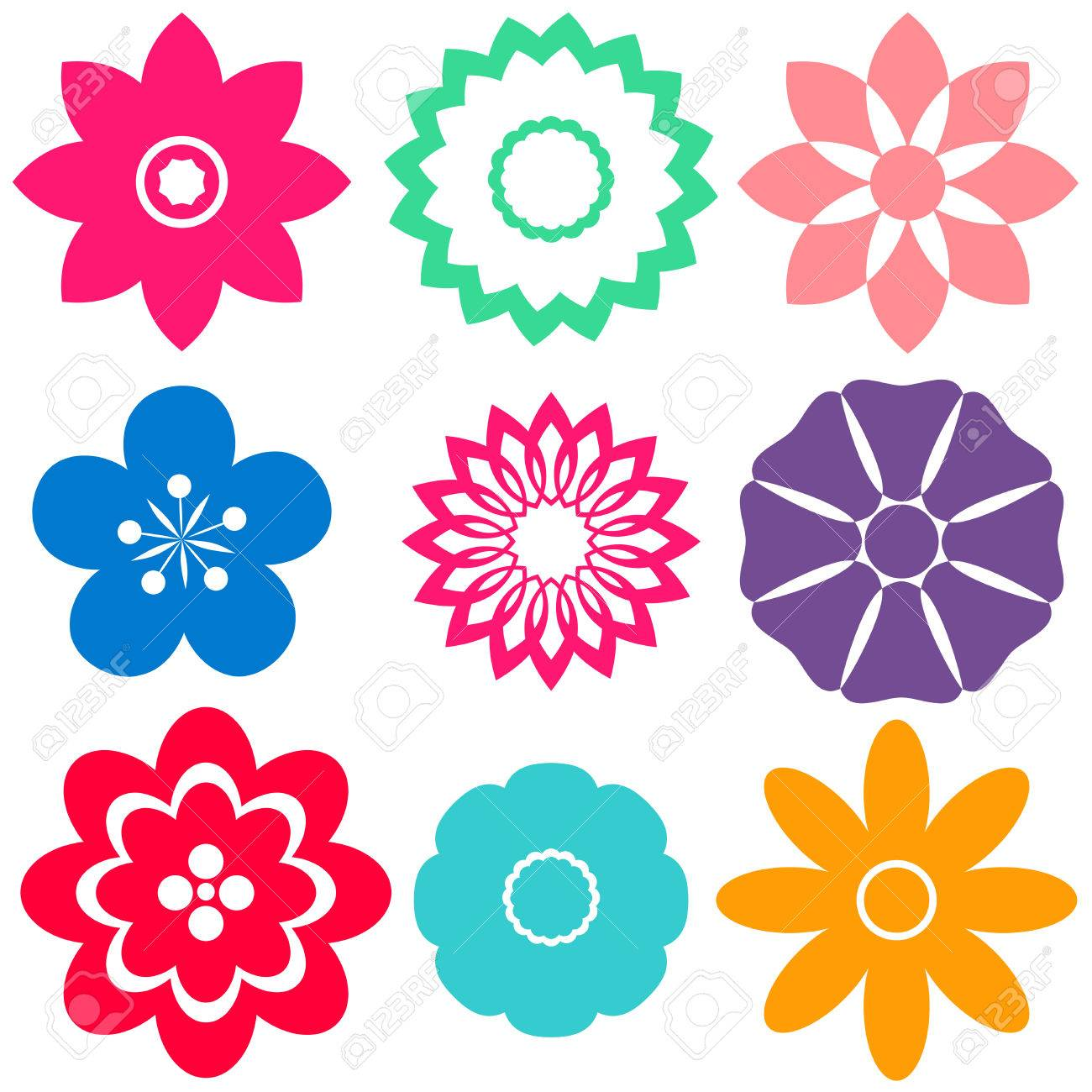 Colorful Floral Templates On A White Background Royalty Free ...