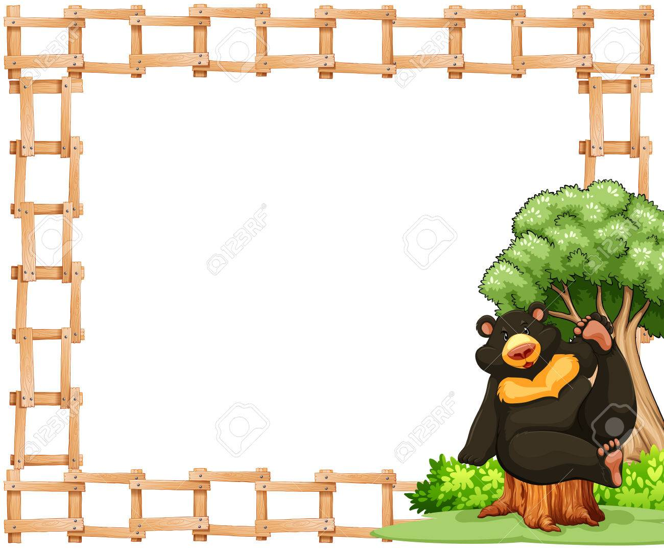 White Poster With Fence And Bear Frame Royalty Free Cliparts