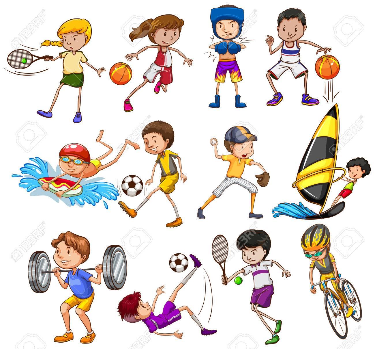 さまざまな種類のスポーツを遊んでいる子供たちのセット ロイヤリティ