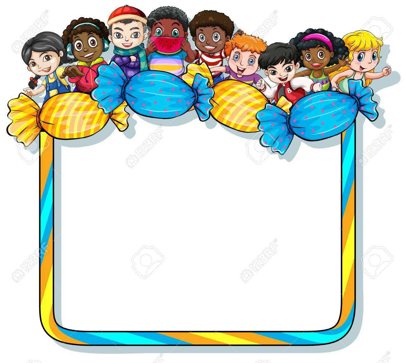 Empty Frame With Candies And Kids On A White Background Royalty Free ...