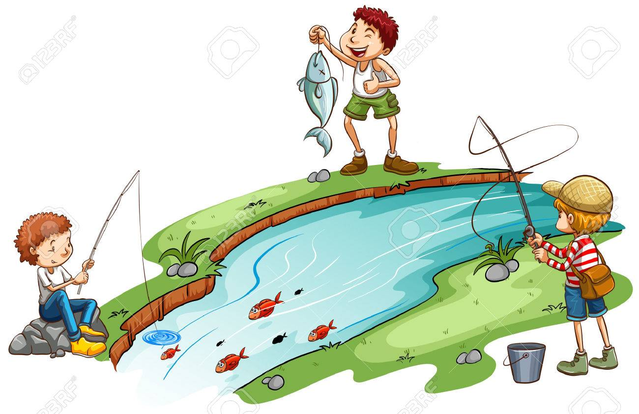 Three Boys Fishing On A White Background Royalty Free Cliparts Vectors And Stock Illustration Image 38121049