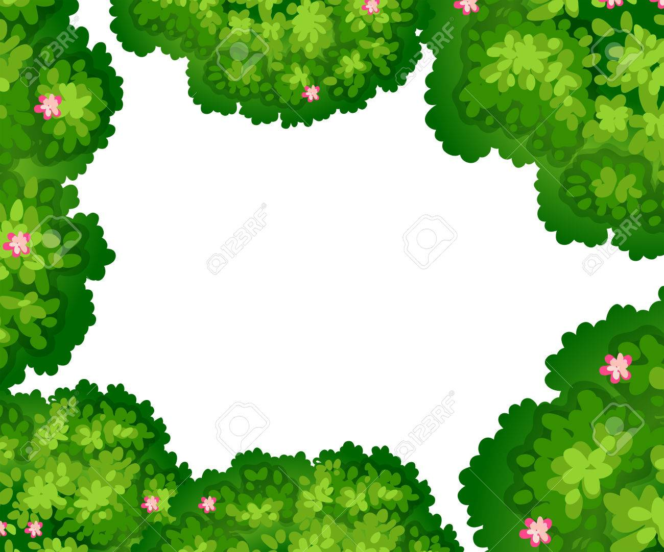 Green Bushes With Pink Flowers Frame On White Paper Royalty Free