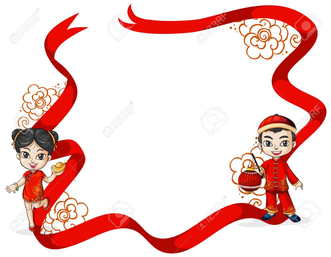 Chinese New Year Frame Theme Royalty Free Cliparts Vectors And
