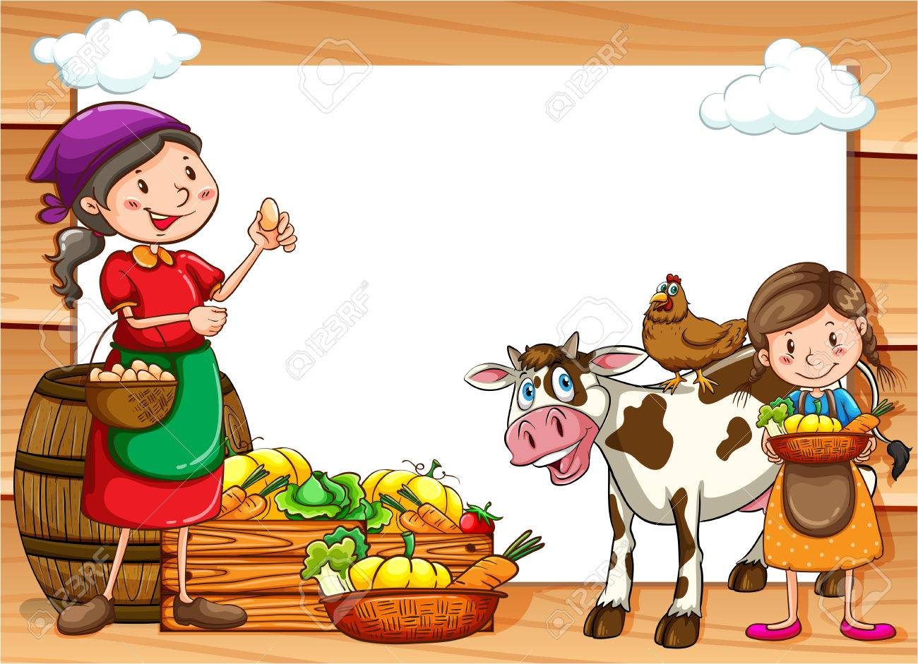Frame Of Vegetable Sellers And Market Royalty Free Cliparts, Vectors ...