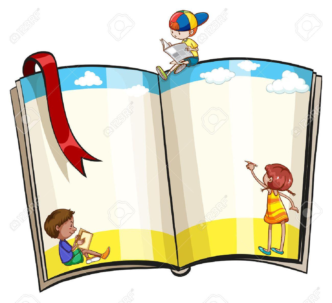 Un Libro Abierto Con Los Niños Diseños Ilustraciones Vectoriales
