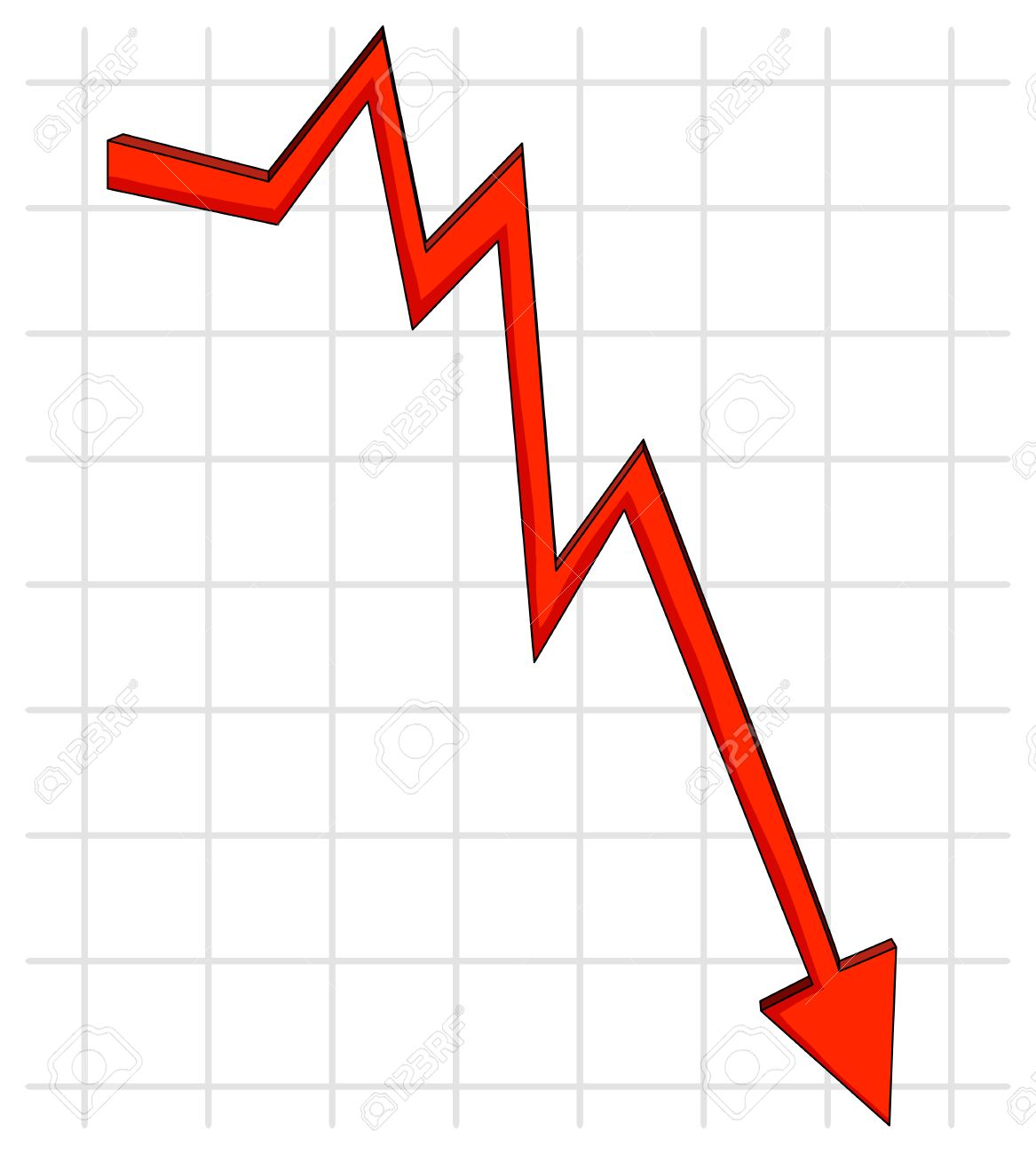 red line graph with downturn arrow royalty free cliparts, vectors