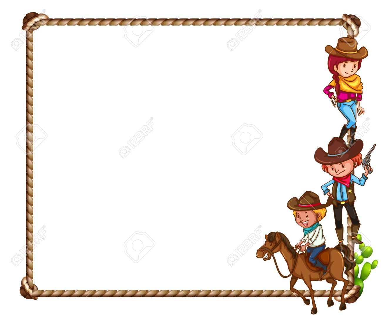 Frame Of Cowboy Theme On White Background Royalty Free Cliparts ...