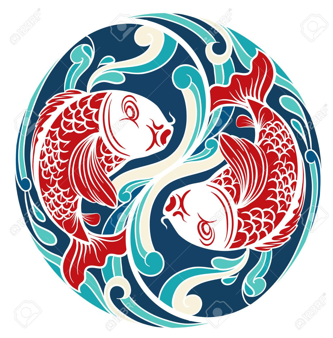 Chinese pattern symbol with two fish and blue background royalty chinese pattern symbol with two fish and blue background stock vector 40287438 buycottarizona Gallery