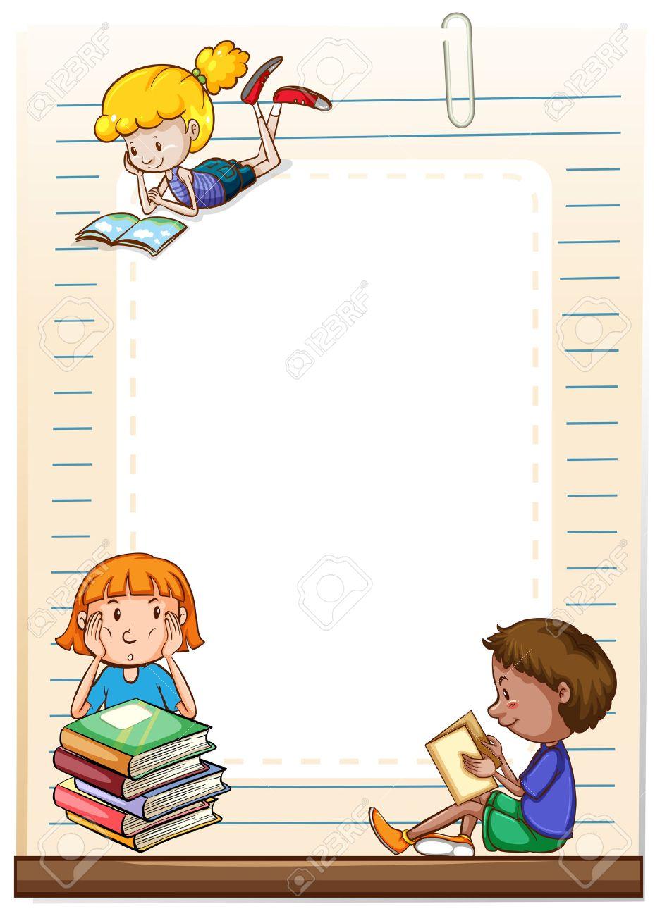 Niños Que Leen Libros Marco De Diseño Ilustraciones Vectoriales ...