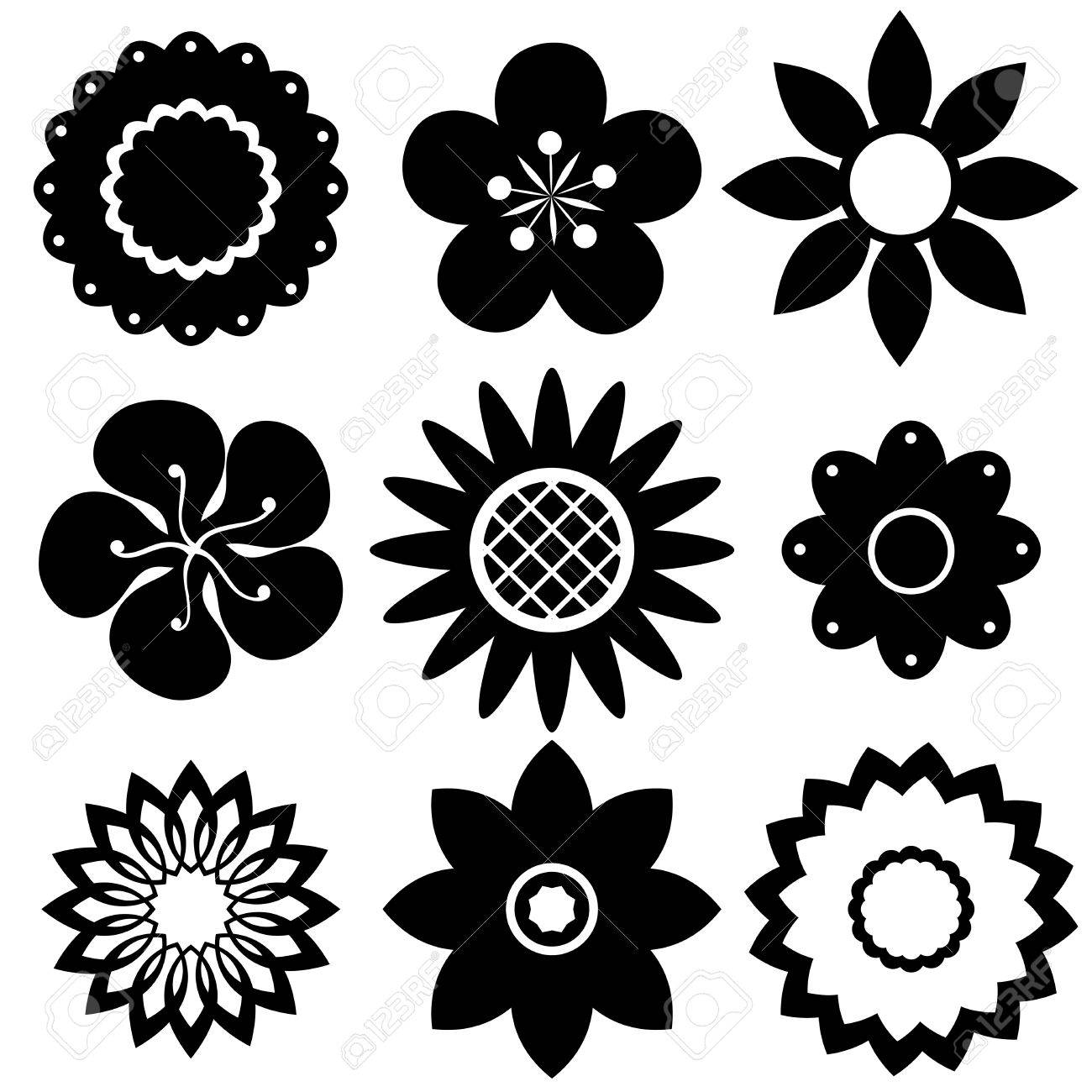 Black And White Flower Design Samples Royalty Free Cliparts Vectors