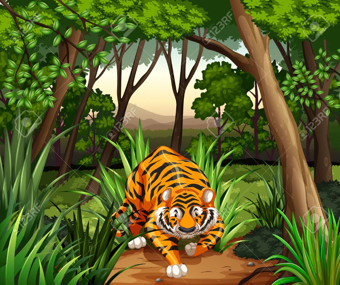 Tiger walking in a jungle - 40400232