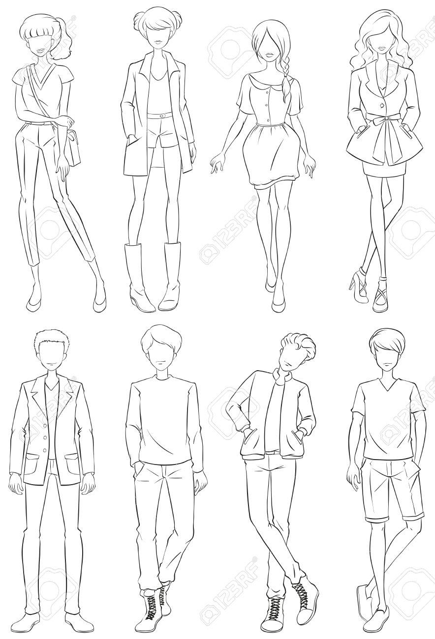Huit Differents Styles De Vetements De Dessin Simple Ligne Clip Art Libres De Droits Vecteurs Et Illustration Image 40401342