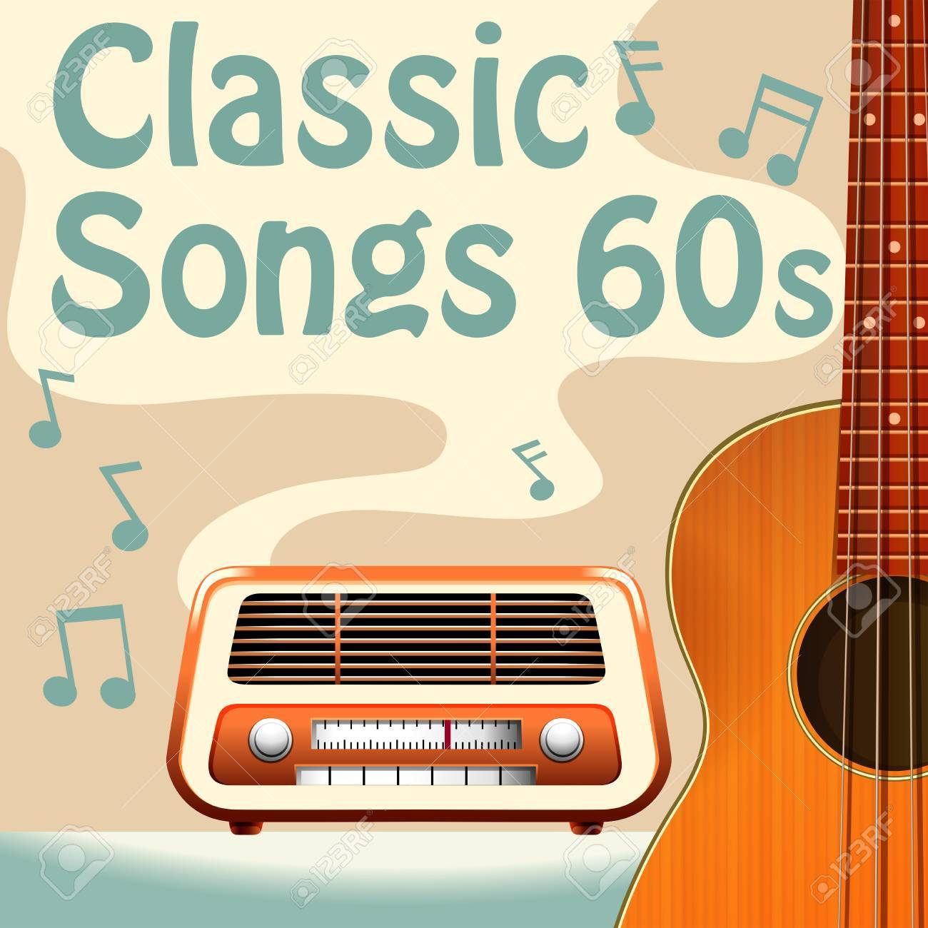Poster of classic 60s songs with a radio and guitar