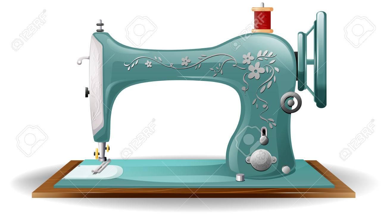 La Máquina De Coser De Color Azul Con Diseño Floral En El Cuerpo ...