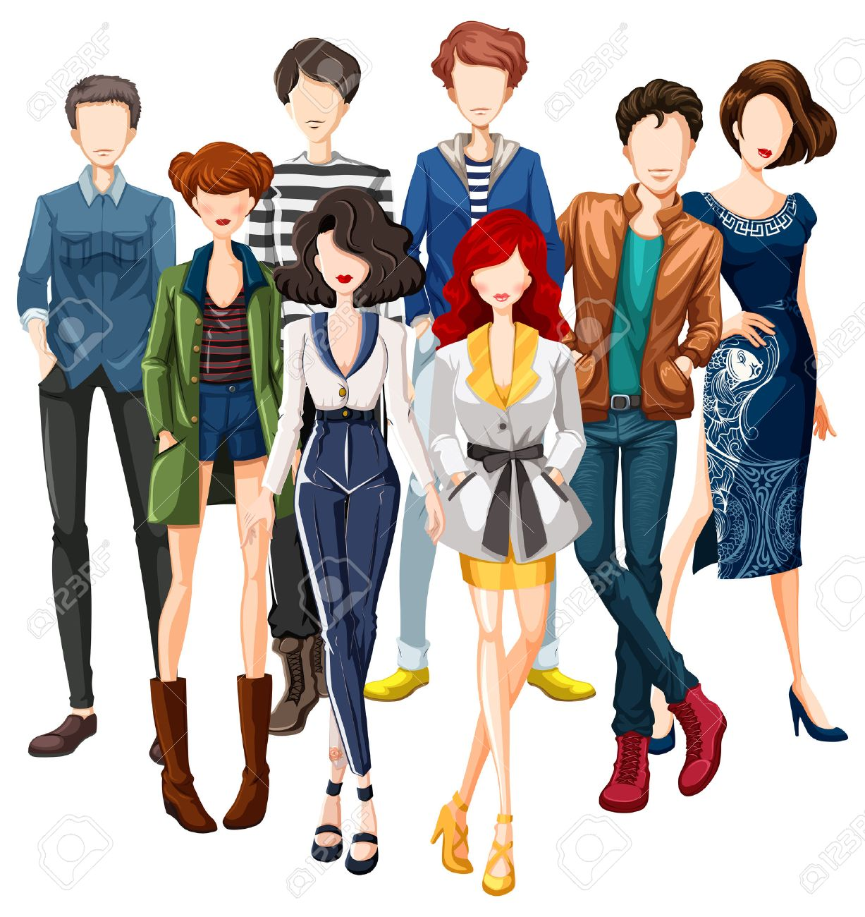 Group of male and female models wearing fashionable clothes Stock Vector - 40710833