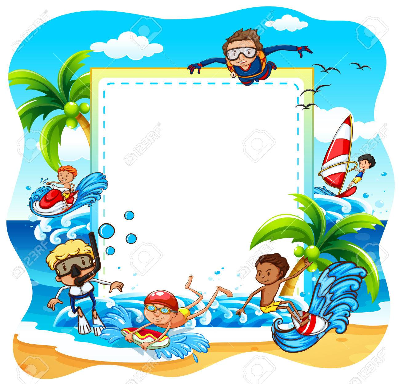 Frame Of Children Enjoying The Beach Activities Stock Vector