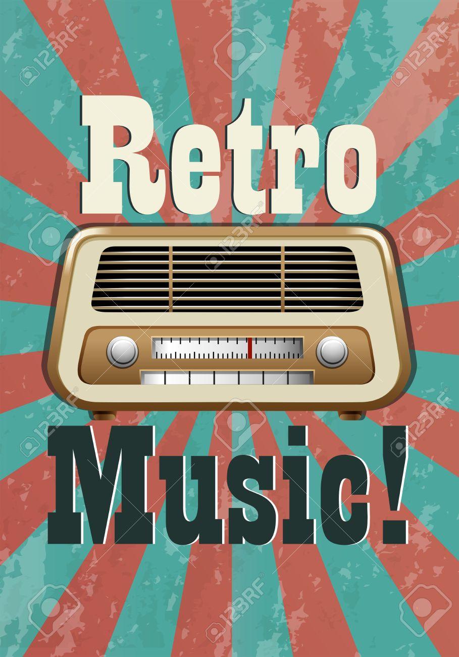 Retro music poster with vintage radio - 40710953