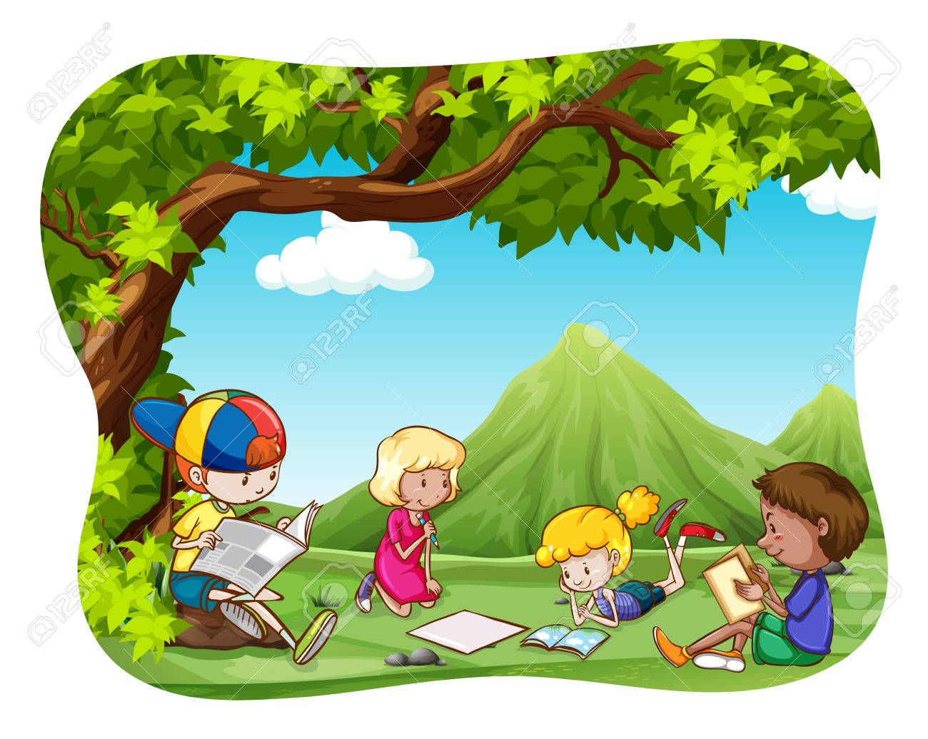 children reading and writing in the park royalty free cliparts